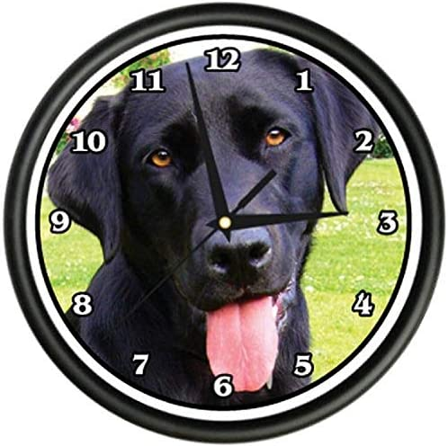 SignMission Black Labrador Wall Clock Dog Doggie pet Breed Gift, Lab