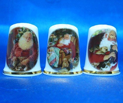 Birchcroft porcellana cinese collezione –  Set di tre ditali –  Babbo Natale e animali domestici Birchcroft China