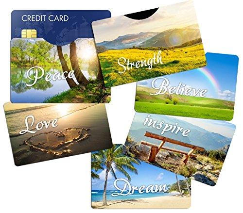 RFID Blocking Sleeves Credit Card Holder (6) Designer Protectors - Identity Theft Protection - Great Gift - Gift Cards Designer