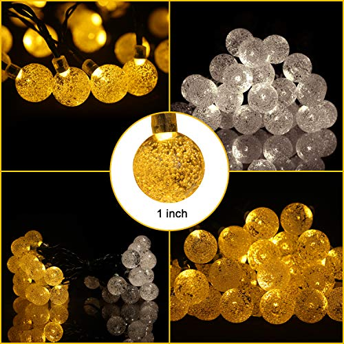 Rockjame Solar Globe String Lights 23FT 50 LED Crystal Bubble Ball Fairy Lights UL CE ROHS FCC Waterproof with 8 Modes for Outdoor Indoor Garden Patio Backyard Weddings Xmas Holiday Party Decor, Warm by Rockjame (Image #4)