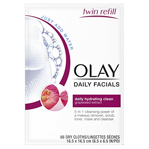 Olay Daily Facials Daily Clean Wipes, 5-in-1 Water Activated Cloths, 66 count