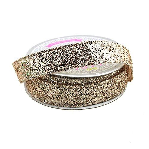 (Homeford FCR000WGL0508CHP Sparkling Glitter Ribbon Wired Edge, 5/8