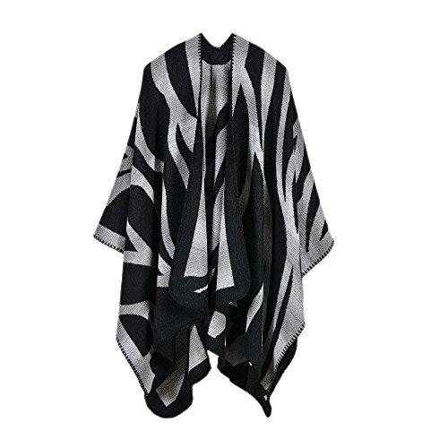 Echarpe Elégante Vintage Chale Confortable Fashion Vêtements Foulards  Rayures Femmes Désinvolte Étole Doux Cou Du Fille Automne Poncho Hiver  Schwarz Chaud ... 4d74b4e2143