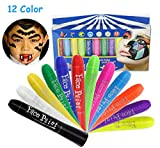 zebra face paint - Face Paint Crayons Kit,12 Color No Mess Body Paint Sticks,Safe & Non-Toxic Washable Professional Rainbow Paint for Toddler/Adult/Teen/Kid, Ideal for Halloween/Christmas/Birthday Party/Sport Carnival