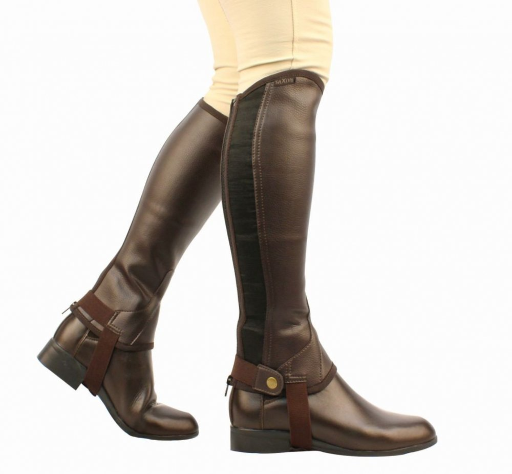 Saxon Equileather Equileather Saxon Half Chaps B005M4IL6O Medium|Black c52349