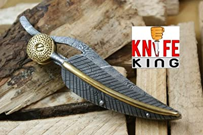 "Knife King ""Baby Blue"" Custom Damascus Handmade Folding Knife. Comes with a sheath."