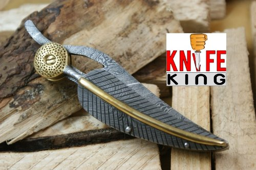 Knife King Baby Blue Custom Damascus Handmade Folding Knife. Comes with a sheath.
