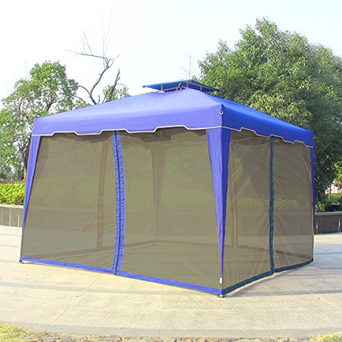 Blue Gazebo (Cloud Mountain 10' x 10' Gazebo Mosquito Netting for Gazebo Canopy, Royal Blue (Only Mosquito Netting))