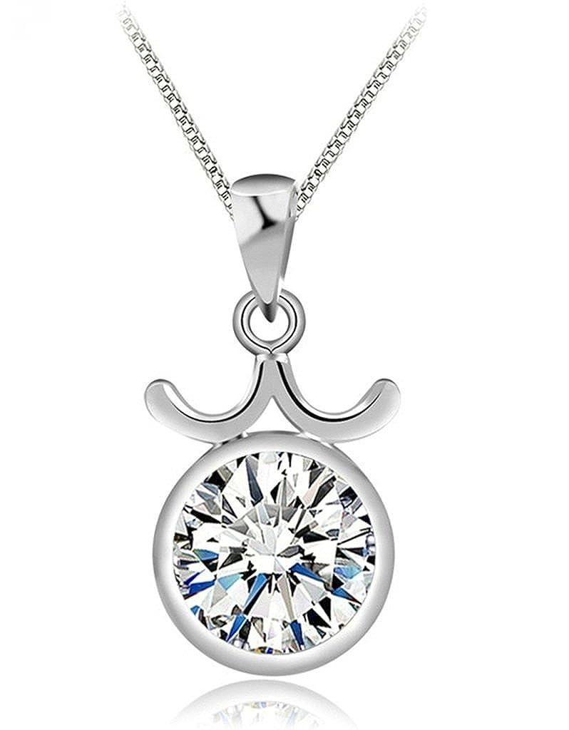 KnSam Women Platinum Plate Pendant Necklace Libra Zodiac Sign Box White Crystal