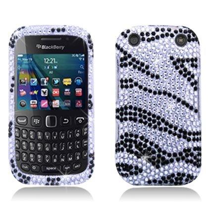 Bundle Accessory for (Verizon/ Boost Mobile) Blackberry Curve 9310 9320 - Zebra Designer Diamond Bling Hard Case Protective Cover+ Lf Stylus Pen + Lf Screen ()