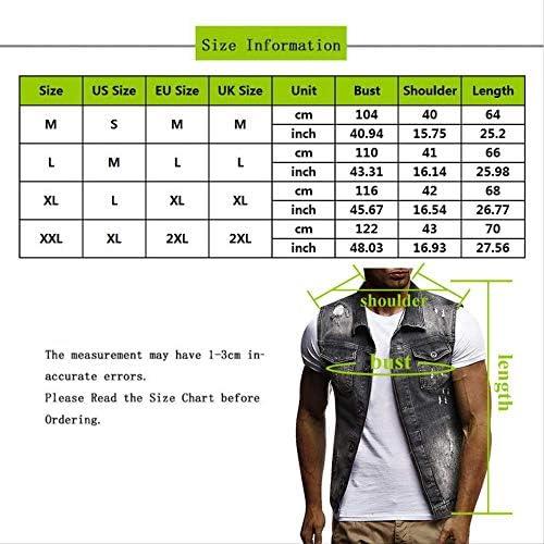 FEVIJNB Gilet Giacca da Uomo Senza Maniche Slim Fit da Uomo Gilet di Jeans Classico di Moda Estiva Colletto con Risvolto Nero Gilet di Jeans S 3
