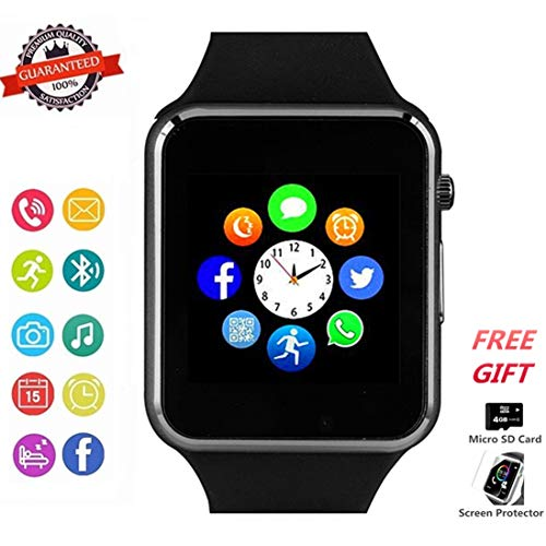 Smart Watch Phone Smartwatch with Camera Pedometer Call Text SNS Sync SIM Card Slot TF Card Music Player Alarm Compatible with Android and IPhone (Partial Functions) for Men Women Kids Teens (Black)