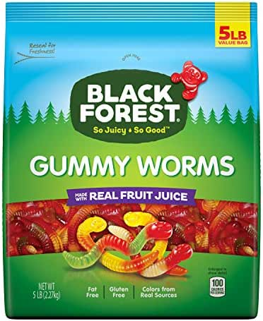 Black Forest Gummy Worms Candy, 5-Pound Bulk Bag