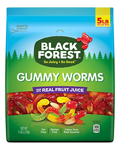 Black Forest Gummy Worms Candy, 5 Pound Bulk Resealable Candy Bag -