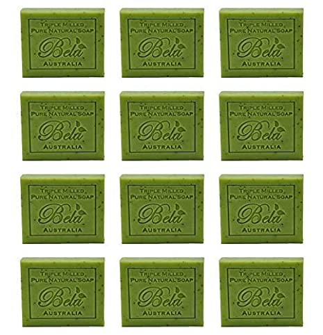 Bela Pure Natural Soaps Triple French Milled Moisturizing Natural Soap Bars - Eucalyptus with Lemon, Lime & Petitgrain - Made in Australia - Holiday Gifts for Him/Her - 12 pack (3.5 oz each)