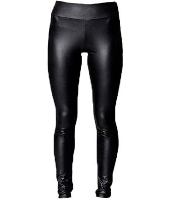 A-Express Femmes Noir Taille Haute Brillant Look Mouillé Mat Leggings Faux  Cuir Pantalon Stretch aeea4a1dc51
