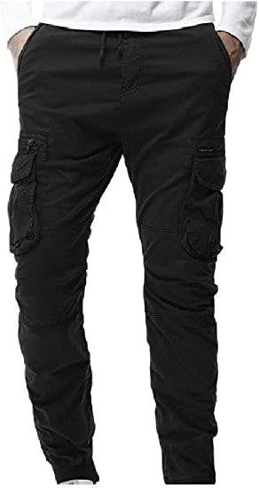 AngelSpace Men Relaxed-Fit Long Pants Solid Straight Leg Pockets Jersey Tank