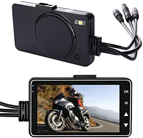 ECOSWAY 1080P HD Motorcycle Camera Dash Cam,Front Rear Dual Lens Electronic Recorder,Motorcycle Waterproof Dash Video Recorder