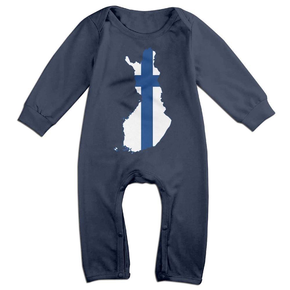 Mri-le1 Baby Boy Girl Bodysuits Outline Map of Finland Infant Long Sleeve Romper Jumpsuit