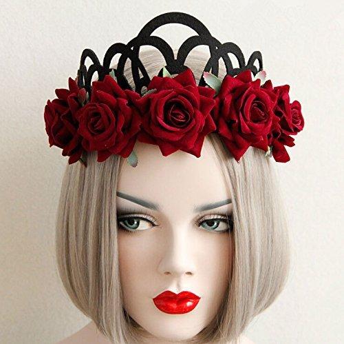 Gothic Style Queen Jewelry Red Rose Crown Tiara Headband Halloween Masquerade Headdress Velvet Veil