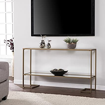 Luxury Modern Sofa Console Table Sleek And Spacious Design Made Of Metal  And Glass Mirrored Shelf