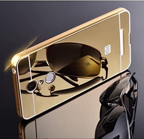 RR Luxury Metal Bumper Acrylic Mirror Back Cover For Xiaomi Redmi note 3   Gold Mobile Accessories