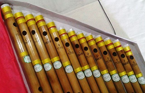 Set of 13 Bamboo Flute Wooden Flute with Different Scales in a Box Pack Scales Bansuri Banshi for beginners, learners and practitioners a nice gifting idea for all music - All India Stores In Online