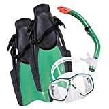 AcTopp Diving Snorkel Set - Snorkeling Gear Includes Double Lens Diving Mask; Snorkel with Lower Purge Valve & Flexible Mouthpiece, and Adjustable Speed Fins