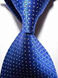 Pisces.goods New Royal Blue Crossed Jacquard Woven Men's Tie Necktie