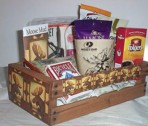Moose Hunters Wood Crate Mens Gift Basket Coffee Mug Cookies Candy Nuts Cards Jerky