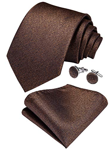 - DiBanGu Silk Brown Tie Solid Ties for Men Necktie Pocket Square Cufflink Formal Set Party