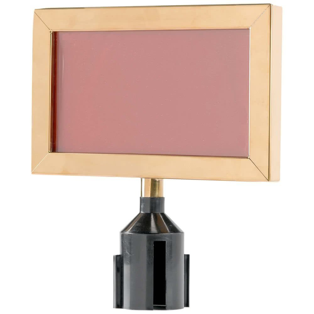 8 5/8'' x 11 1/8'' Brass Finish Horizontal Removable Steel Stanchion Sign Frame By TableTop King