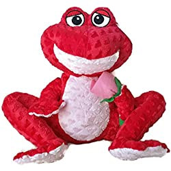 "12"" Red Plush Frog with Rose"