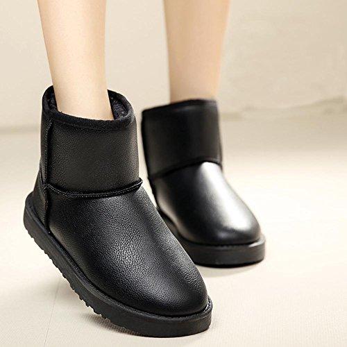 Automne et Hiver Imperméable en Cuir Surface Epaississement Plat Plus Velours Coton Anti-dérapant Multicolore Femmes Bottes de Neige , black , 37