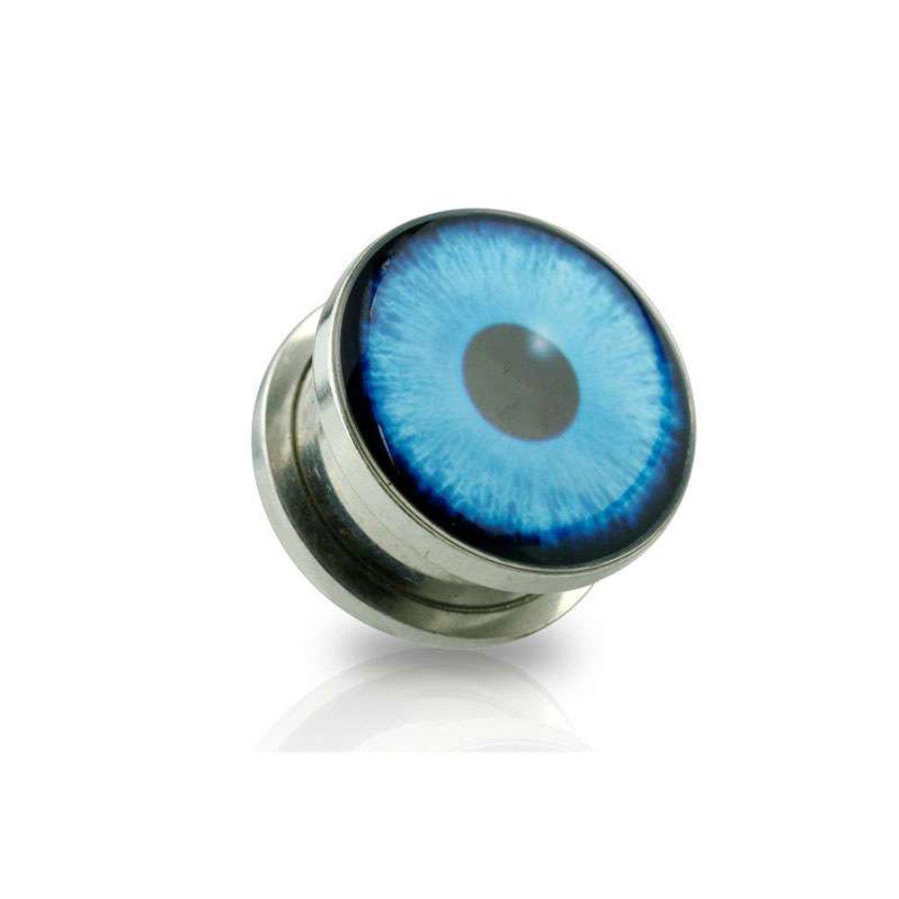 Dynamique Pair Of Hamsa Evil Eye Print Screw Fit Plugs 316L Surgical Steel