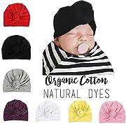 Baby Genie Turban Hat | Turban Cotton Hat Headband Toddler Babys Turban Kids Knotted Hat Cap Set (Pink)