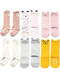 Unisex Baby Girls Socks, YJWAN 6 Pairs Toddler Anti Skid With Grips Knee High Socks (S, 6 Pairs-mix Color)