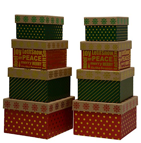 Wrap N Roll Christmas Nested Gift Box Set of 8 Square Boxes in Assorted Colors with Lids, Hot Stamp for Gift Giving On Holiday and Party ()