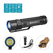 Olight® S2 Baton Cree XM-L2 950 Lumens LED Flashlight Runs on 2 x CR123A Batteries or 1 x 18650 Battery (Battery not Included) Variable-Output Side-switch EDC Torch for Outdoors Camping Hiking, Black