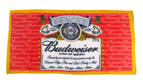 Classic Budweiser Label Velour Beach Towel 30 in. X 60 in. (Towel Labels)