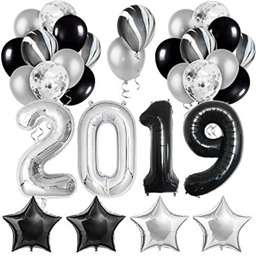 2019 Graduation Party Decorations Silver Black 2019 Balloons for Graduation Retirement Party Supplies]()