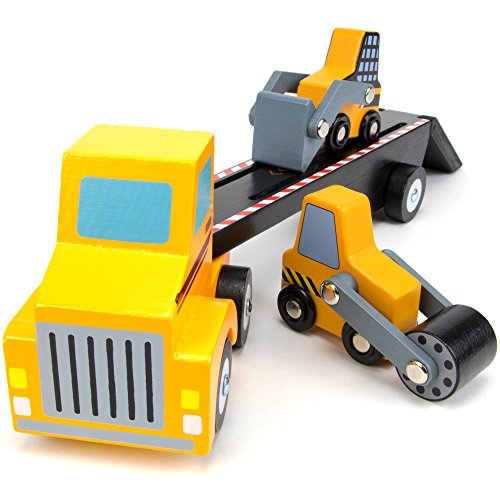 Tough Trucks Wood Construction Vehicles, Bulldozer, Steamroller, and Semi Truck Loader Toy by Imagination Generation