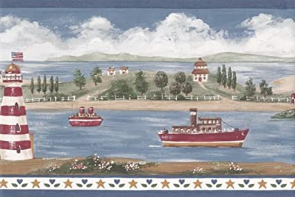 Lighthouse Wallpaper Border - Blue BV006104B