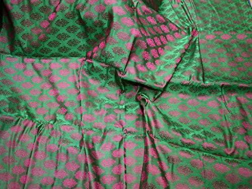 Tela jacquard color magenta y verde para corbatas, brocado ...