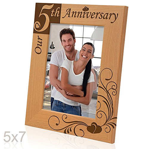 Kate Posh - Our 5th Anniversary Engraved Solid Wood Picture Frame (5x7 Vertical)