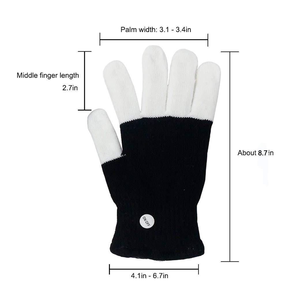 Ausein Kids LED Finger Gloves Children LED Flashing Light Gloves 3 Colors 6 Light Modes Colorful Glow Light Up Rave Gloves for Kids with Extra Batteries