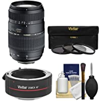 Tamron 70-300mm f/4-5.6 Di LD Macro 1:2 Zoom Lens with 3 UV/CPL/ND8 Filters + 2x Teleconverter Kit for Canon EOS 6D, 70D, Rebel T3, T3i, T4i, T5, T5i, SL1 Digital SLR Cameras