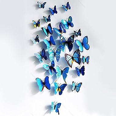 Good House® HOT !!! 3D 12cm. Butterfly Blue Wall Sticker DIY Decoration Home Art Decal E2