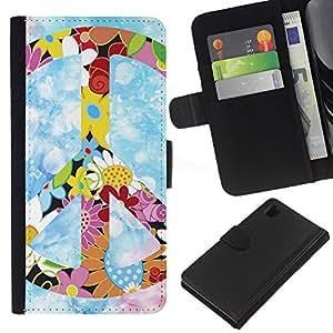All Phone Most Case / Oferta Especial Cáscara Funda de cuero Monedero Cubierta de proteccion Caso / Wallet Case for Sony Xperia Z1 L39 // Peace Hippie Symbol Colorful Flowers Spring