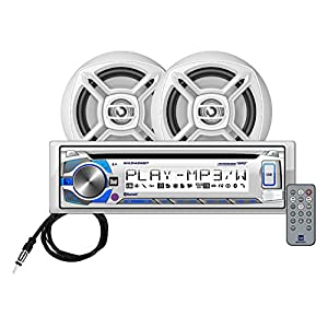 Dual Electronics MCP426BT Multimedia Single DIN Marine Stereo with Built-In Bluetooth, CD & USB Players, Two 6.5 inch Dual Cone Marine Speakers & Long Range Marine Antenna